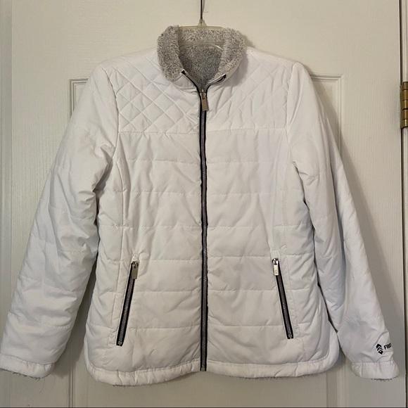 Free Country White Puffy Coat Zip reversible M